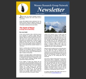 Newsletter with events listing and  an article called The Spirit of Nepal